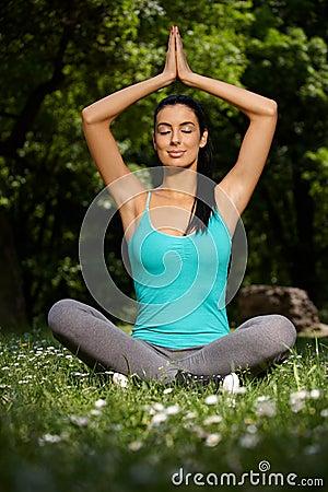 beautiful woman meditating yoga pose park 20856412 - Acceleration dating london lesbian matchmaker