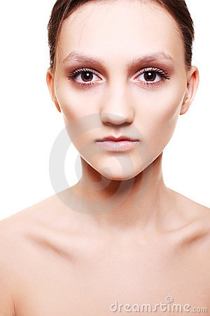 Beautiful woman with natural beige make-up