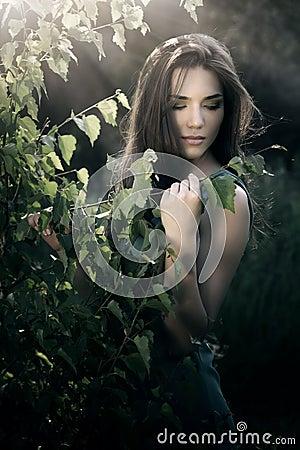 beautiful woman nature scenery 25463099