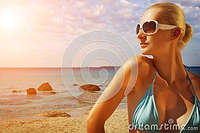 Beautiful woman near the sea