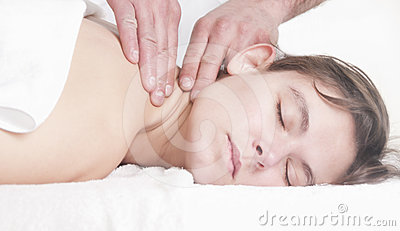 Beautiful woman neck massage spa