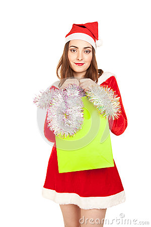Beautiful woman in new year costume with spangle  isolated on wh