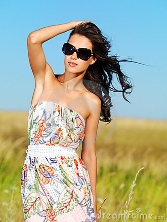 Free Beautiful Woman On Nature In Black Sunglasses Royalty Free Stock Photo - 15413455