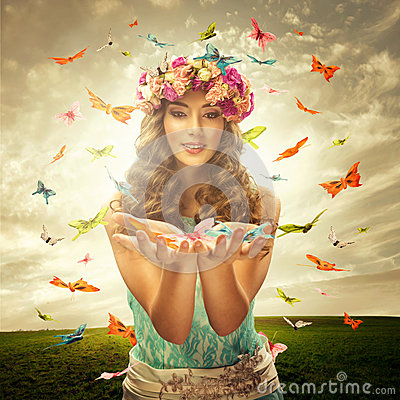 Free Beautiful Woman On The Meadow - Many Butterfly Surrounds Royalty Free Stock Photos - 49081788