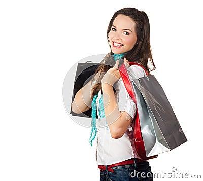 Beautiful woman out shopping