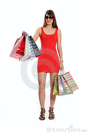 Beautiful woman out shopping wearing short dress