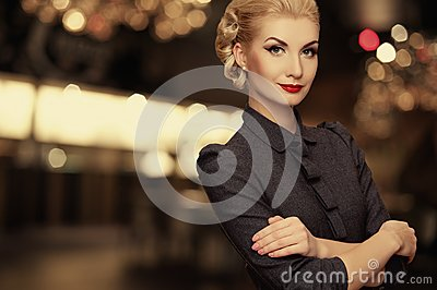 Beautiful woman outdoor at night
