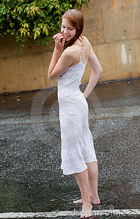 Beautiful Woman Outside in Rain