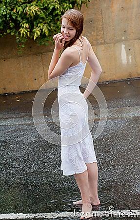 Beautiful Woman Outside in Rain
