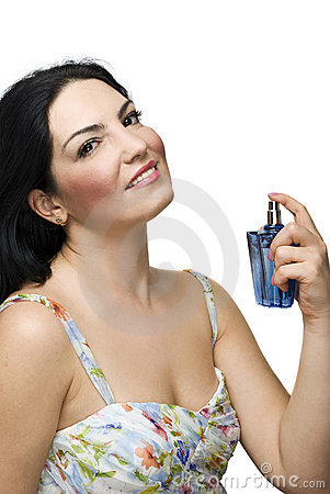 Beautiful woman and perfume