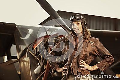 Beautiful woman pilot: vintage photo