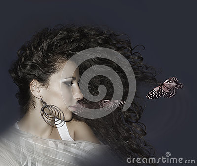 Beautiful woman and butterfly