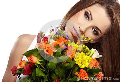 Woman portrait  with bouquet