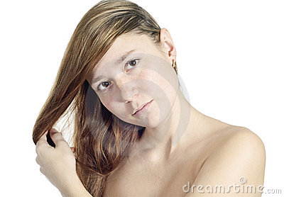 Beautiful woman portrait over white