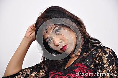 Beautiful woman portrait red black dress