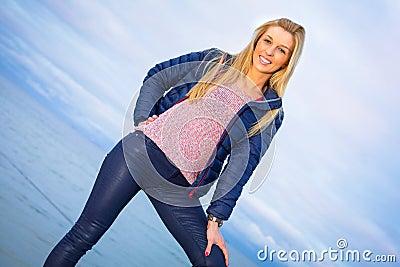 Beautiful woman portrait at the sea