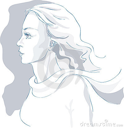 Beautiful woman portrait, sketch, profile, vector