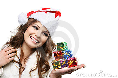 Beautiful woman posing as Santa Claus. Isolated.