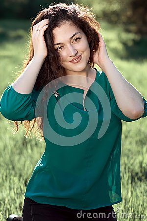 Free Beautiful Woman Posing In Summer Forest, Bright Landscape With Shadows On The Grass Stock Photo - 118304450