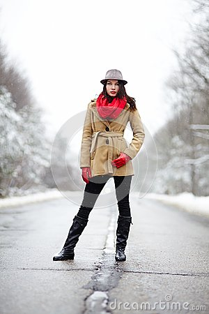 Beautiful woman posing on a road in the winter