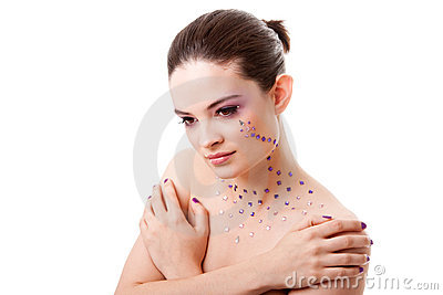 Beautiful woman with purple makeup