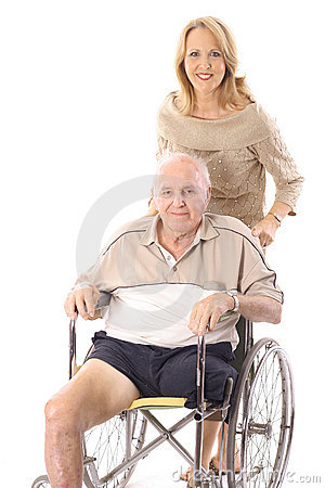 Beautiful woman pushing handicap man vertical