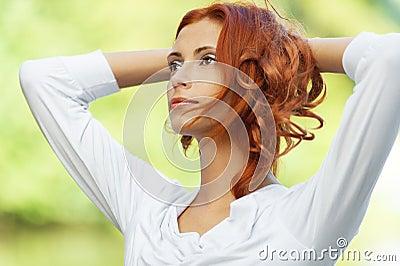 Beautiful woman put her head