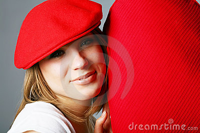 Beautiful woman in red cap