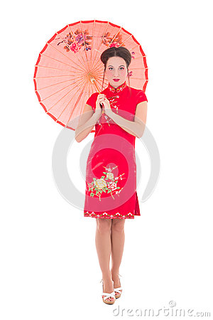 Beautiful woman in red japanese dress with umbrella isolated on