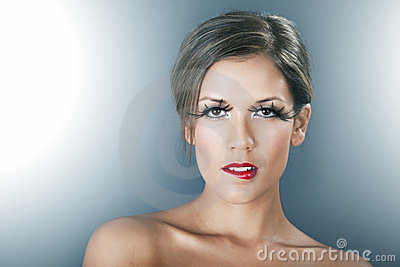 Beautiful Woman With Red Lips And Long Lashes Stock Photos - Image: 24055353