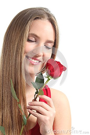 Beautiful woman with a red rose