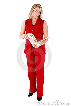 Beautiful Woman in Red Sleeveless Business Suit Looking At Folde
