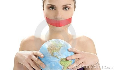 Beautiful woman with red tape on mouth portrait