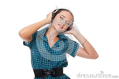 Beautiful woman relaxation listening music