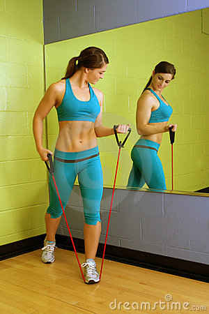 Beautiful Woman with Resistance Band (3)