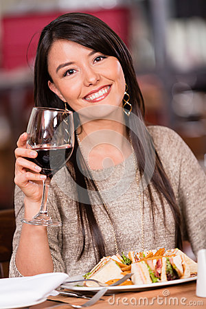 Beautiful woman at a restaurant