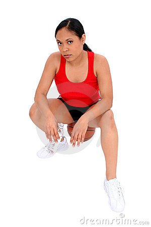 Free Beautiful Woman Resting On Basketball Royalty Free Stock Image - 160076
