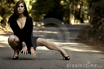 Beautiful woman on a road