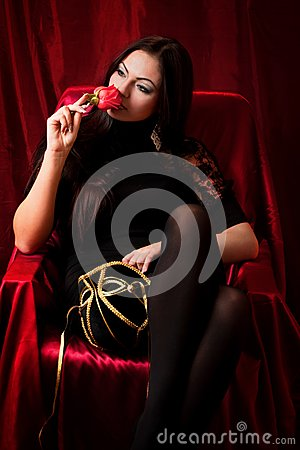 Beautiful woman with a rose