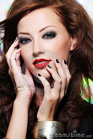 Free Beautiful Woman S Face With Fashion Make-up Stock Image - 13084231