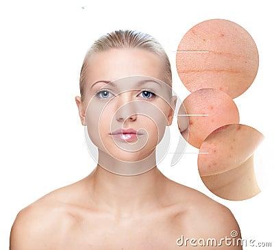 Beautiful woman s portrait, skin care concept.