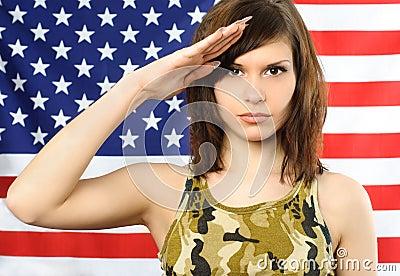 Beautiful woman salutes