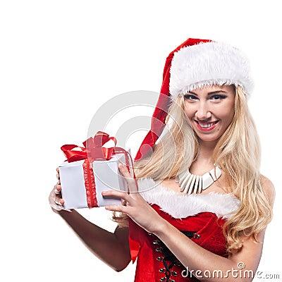 Beautiful  woman in Santa Clause costume
