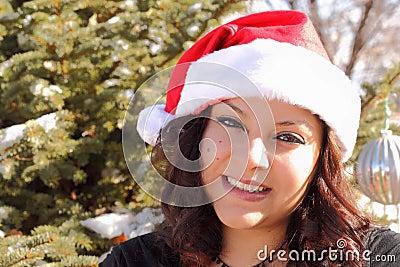Beautiful Woman with Santa Hat