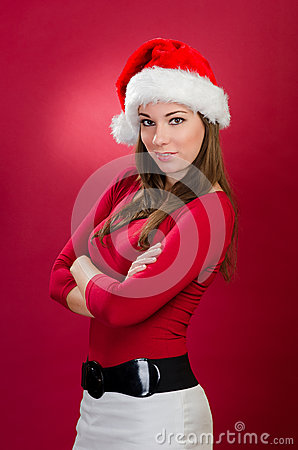 Beautiful woman with santa hat
