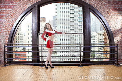 Beautiful Woman in Santa Outfit