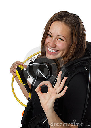 Free Beautiful Woman Scuba Diver Royalty Free Stock Images - 12094949