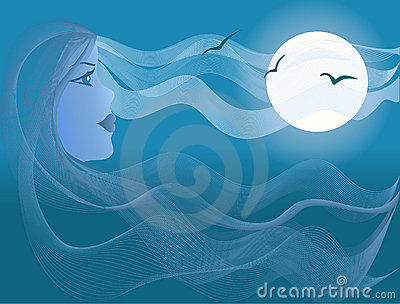 Beautiful woman, sea moonlight