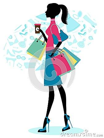 Beautiful woman shopping with coffee
