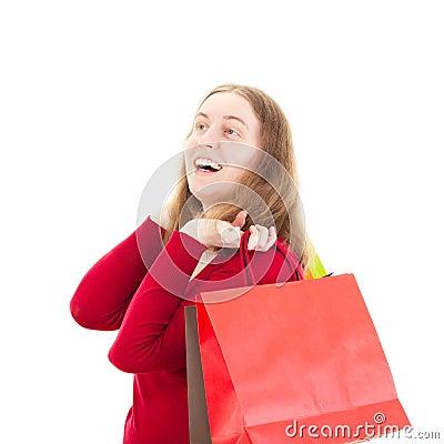 Beautiful woman on shopping tour